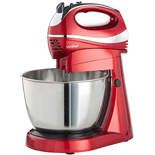 VonShef 2 in 1 Twin Hand & Stand Mixer - 300W Electric, Multifunctional, Red Mixer with 5 Speeds & Turbo Button, 3.5L Bowl & Removable, Dishwasher Safe Attachments (2X Beaters, 2X Dough Hooks & Whisk)