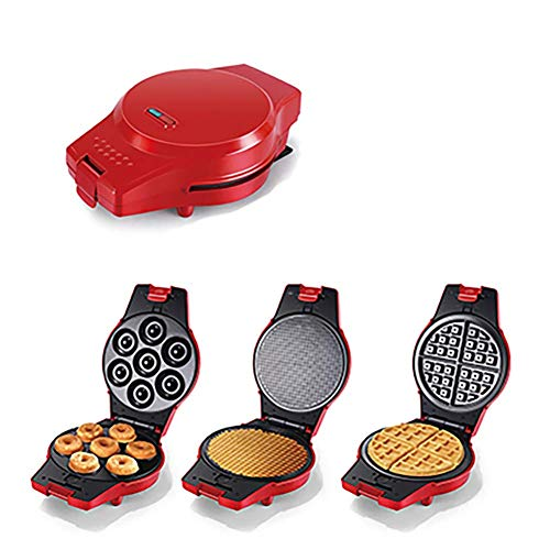 3 in 1 Waffle Maker,Doughnut and Panini Plates,with Detachable Non-Stick Plates,Automatic Temp Control,Stainless Steel -Red