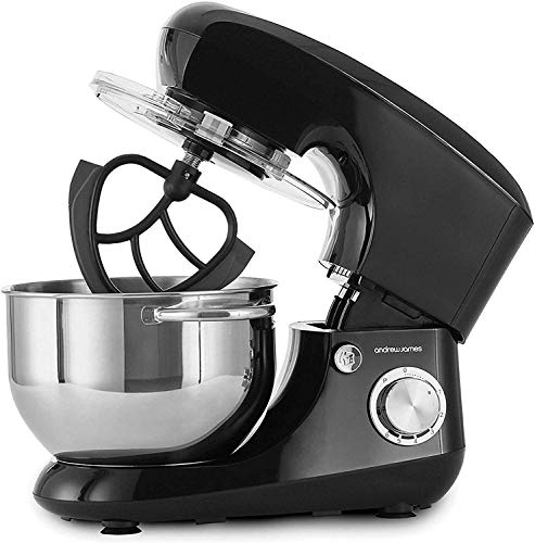 Andrew James Stand Mixer Electric Food Mixer with Large 5.5 Litre Bowl | Includes Beaters for Baking Plus Dough Hook & Balloon Whisk | Removable Splash Guard | 6 Speed Settings | 800W | Black