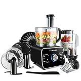 Food Processor Topchef 1100W Multifunctional Food Processor- Blender, Chopper, Mixer, Grinder, Citrus Juicer, Knead Dough Blades, Shredder, Slicing Attachments and 3.2L Bowl 1.5L Blender Jug