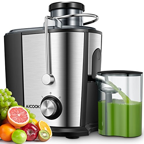 Juicer Machines, AICOOK 600W Whole Fruit and Vegetable Juicer, 75MM Wide Mouth Juicer Extractor, Two Speed Centrifuge with Non-Drip Function, BPA Free