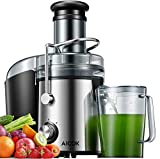 Juicer Machines AICOK 800W Juicer Extractor Quick Juicing for Whole Fruit and Vegetable Easy to Clean, and 75MM Large Feed Chute, Dual Speed Setting and Non-Slip Feet, Silver