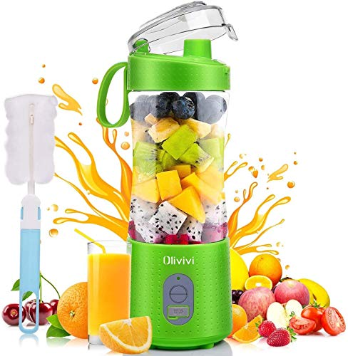 Portable Blender, Olivivi Personal Blender Bottle Mini Smoothie Blender 6 Powerful Blades, 4000mAh Rechargeable USB Juicer Cup Bottle with Strainer Cleaning Brush for Travel BPA Free Green