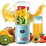 Portable Mini Blender USB Rechargeable with 2 Tritan Bottles BPA-Free, Personal Blender for Smoothies and Shakes, Small Blender Juicer for Office and Travel by Sboly (Blue)