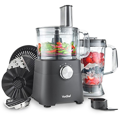 VonShef 750W Food Processor - Blender, Chopper, Multi Mixer Machine with Dough Blade, Shredder, Juicer & Grater Attachments– Multifunctional & Dishwasher-Safe Parts - 2L Mixing Bowl & 1.8L Jug- Black