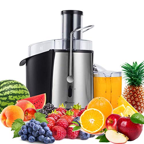 PureMate Juicer Machines, 1000W Powerful Juicer Extractor Quick Juicing for Whole Fruit and Vegetable, BPA-Free with 2 Speed Settings, Easy to Clean & 75MM Large Feed Chute, Centrifugal Juicer Machine