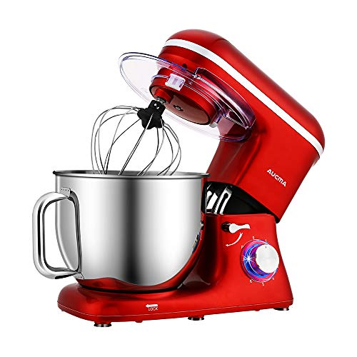 Aucma Stand Mixer,7L Tilt-Head Food Mixer, 6 Speed Electric Kitchen Mixer with Dough Hook, Wire Whip & Beater 1400W Two Layers Red Painting(Red)