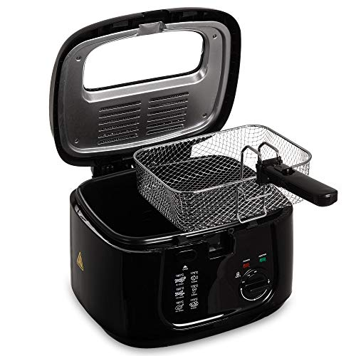 LIVIVO Electric 2.5L Deep Fat Countertop Fryer Non-Stick Coating, Internal Mesh Basket with Safety Handle and Viewing Window Easy Clean (Black)