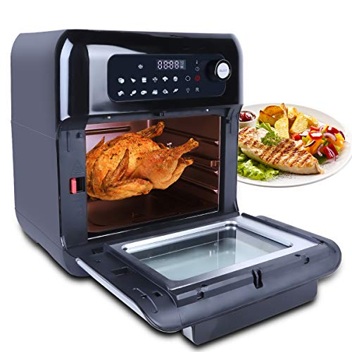 Uten Automatic Multifunctional Air Fryer Oven Smart Tabletop Oven , Hot Air Oven with 12 Programs , with LED Touch Screen Temperature and Control for Baking ,10L 1500W