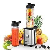 Smoothie Blender, homgeek Personal Blender Smoothie Makers 350W, Mini Blender Mixer with 2x600ML Portable Bottles, 4 Sharp Blades for Milkshake, Fruit and Baby Food, 23,000 RPM, BPA-Free