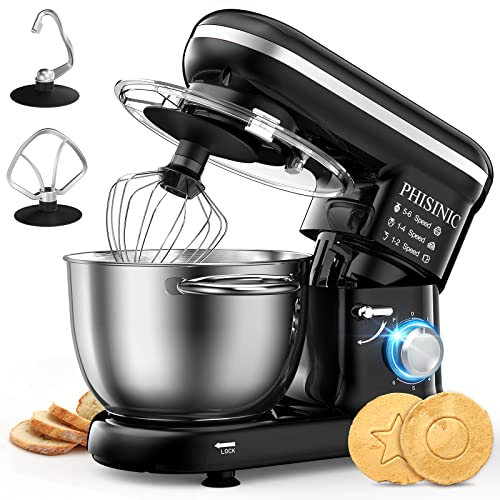 PHISINIC Food Stand Mixer for Baking, 5.5L 1500W, Kitchen Electric Mixer with Dough Hook, Whisk, Beater, Splash Guard, Dishwasher Safe (Black)
