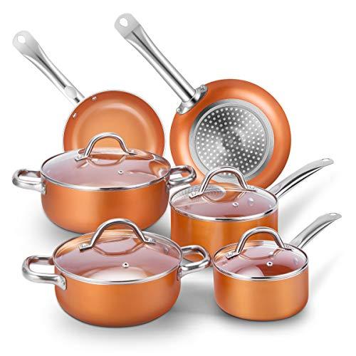 CUSIBOX Cookware Set Pan & Pot Set 6 Piece , Stock Pot, Saute Pan, Saucepan,Glass Lid   Induction   Nonstick