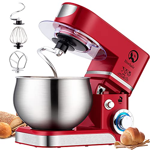 Stand Mixer, 6L Food Mixer 1000W Tilt-Head Electric Kitchen Mixer with Dough Hook, Wire Whip & Beater for Wheaten Food, Salad, Cake (Red)