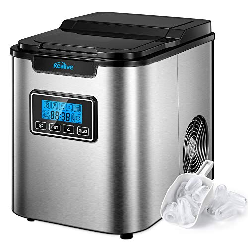 Ice Maker Stainless Steel Kealive, Ice Cubes Ready in 6 Mins, 28lbs Ice per 24 Hrs, Ice Maker Machine Counter Top Home, Self-Clean Function, LCD Display, 2.3L with Ice Scoop & Basket